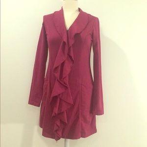 XCVI Raspberry Ruffle front long knit jacket S